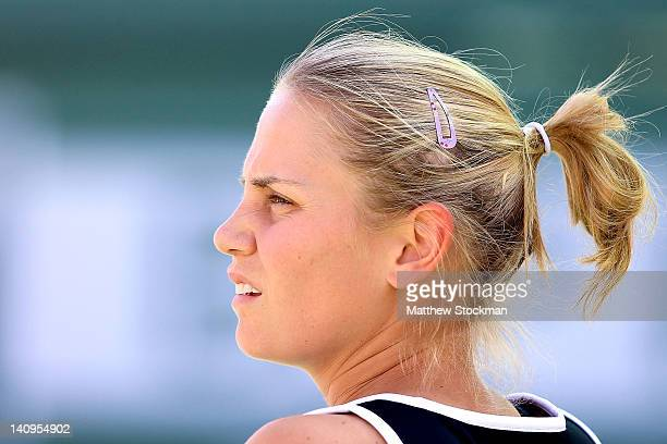 Jelena Dokic of Australia cools down between games while playing Gesela Dulko of Argentina during the BNP Paribas Open at the Indian Wells Tennis...