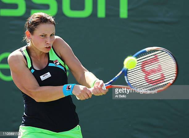 Jelena Dokic of Australia hits the ball against Christina McHale of the USA during the Sony Ericsson Open at Crandon Park Tennis Center on March 22,...