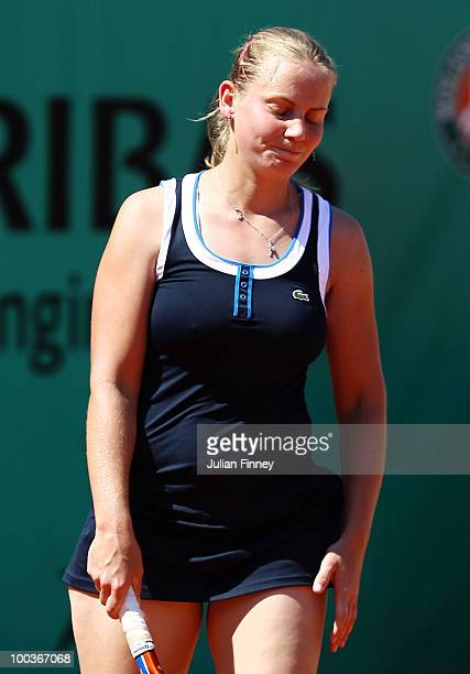 Jelena Dokic of Australia looks dejected during the women's singles first round match between Lucie Safarova of Czech Republic and Jelena Dokic of...