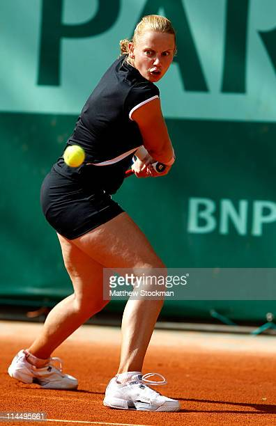 Jelena Dokic of Australia plays a backhand during the women's singles round one match between Jelena Dokic of Australia and Vera Dushevina of Russia...