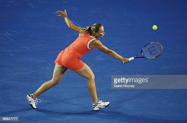 Jelena Dokic of Australia plays a backhand in her first round match against Alisa Kleybanova of Russia during day one of the 2010 Australian Open at...