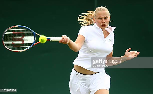 Jelena Dokic of Australia plays a forehand in her match against Melanie Klaffner of Austria during qualifying for Wimbledon 2010 Tennis at Roehampton...