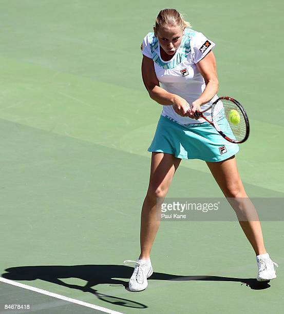 Jelena Dokic of Australia plays a return shot to Dianne Hollands of New Zealand during day four of the Fed Cup Asia/Oceania Zone Group 1 2 match...