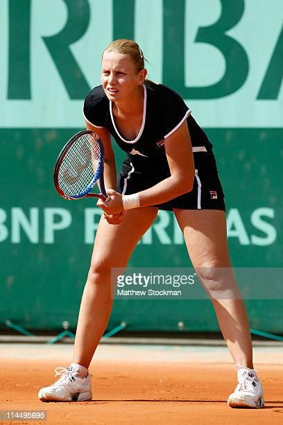 Jelena Dokic of Australia prepares to receive a serve during the women's singles round one match between Jelena Dokic of Australia and Vera Dushevina...