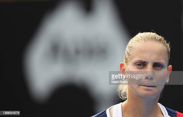 Jelena Dokic of Australia reacts after losing a point in her second round match against Marion Bartoli of France during day three of the 2012 Sydney...