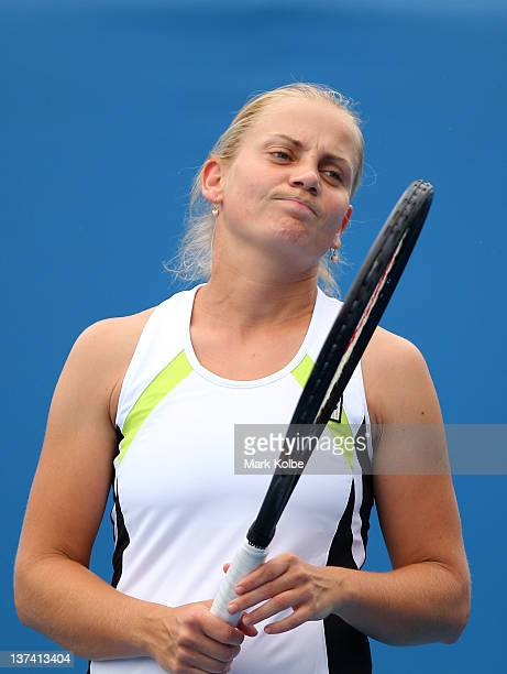 Jelena Dokic of Australia reacts in her first round mixed doubles match with Paul Hanley of Australia against Andrea Hlavackova of the Czech Republic...