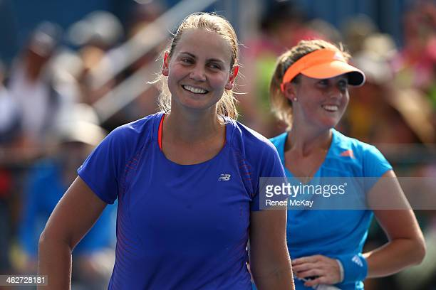 Jelena Dokic of Australia reacts in her first round women's doubles match with Storm Sanders of Australia against Magdalena Rybarikova of Slovakia...