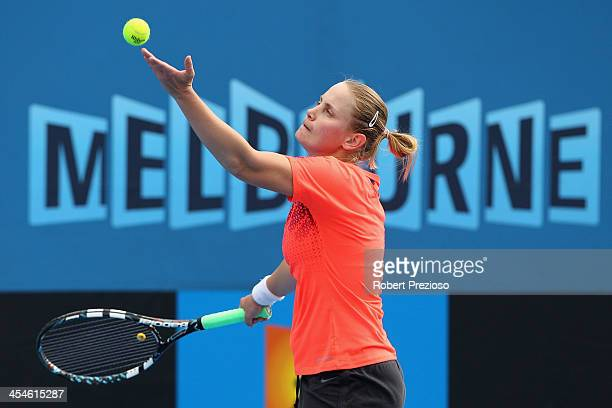Jelena Dokic of Australia serves in her first round match against Jarmila Gajdosova of Australia in the Australian Open 2014 Qualifying at Melbourne...