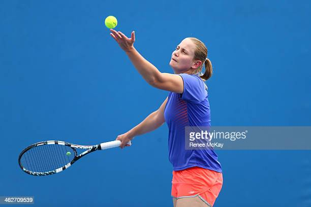 Jelena Dokic of Australia serves in her first round women's doubles match with Storm Sanders of Australia against Magdalena Rybarikova of Slovakia...