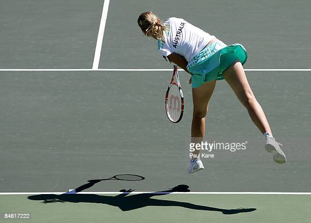 Jelena Dokic of Australia serves to Lee JinA of Korea during the first round Fed Cup match between Australia and Korea at The State Tennis Center on...