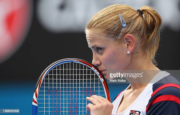 Jelena Dokic of Australia shows her frustration in her second round match against Marion Bartoli of France during day three of the 2012 Sydney...