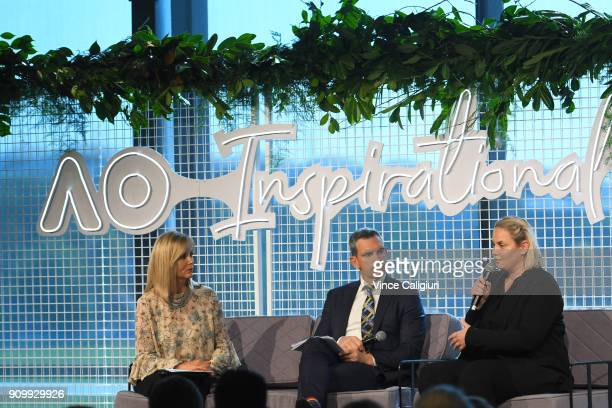Jelena Dokic of Australia speaks at the AO Inspirational series brunch on day 11 of the 2018 Australian Open at Melbourne Park on January 23, 2018 in...