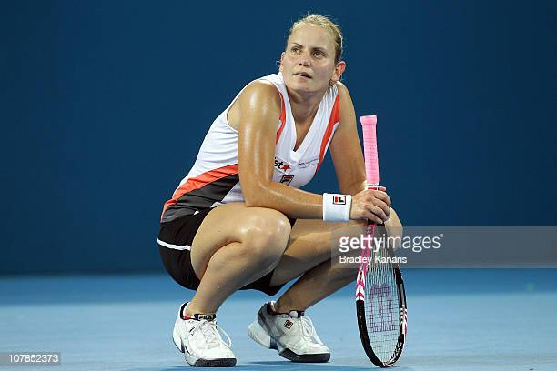 Jelena Dokic of Australia watches and waits for a video line call decision on the stadium video screen during her first round match against Anastasia...
