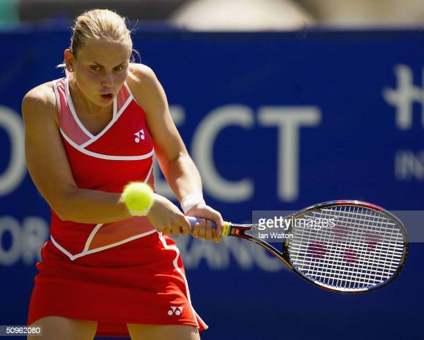 Jelena Dokic of Serbia and Montnegro in action during her match against Tina Pisnik of Slovenia during the Hastings Direct International Tennis...