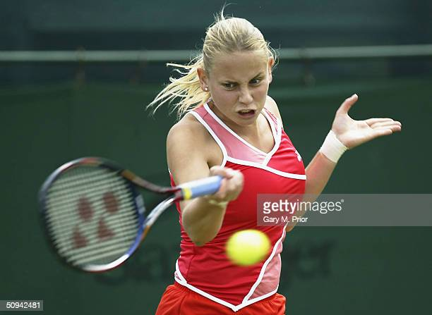 Jelena Dokic of Serbia and Montnegro plays a forehand during her second round match against Shenay Perry of USA at the DFS Classic at Edgbaston on...