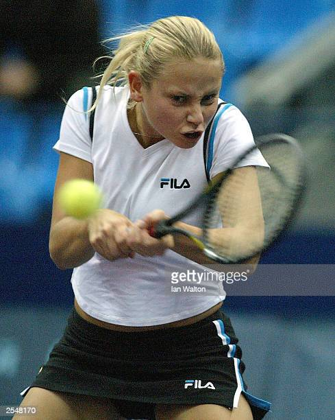 Jelena Dokic of Yugoslavia in action against Alexandra Stevenson of USA during the ATP and WTA Kremlin Cup at the Olympic Stadium on September 30...
