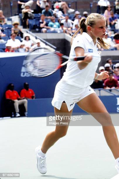Jelena Dokic plays tennis at the US Open circa 2000 in New York City.