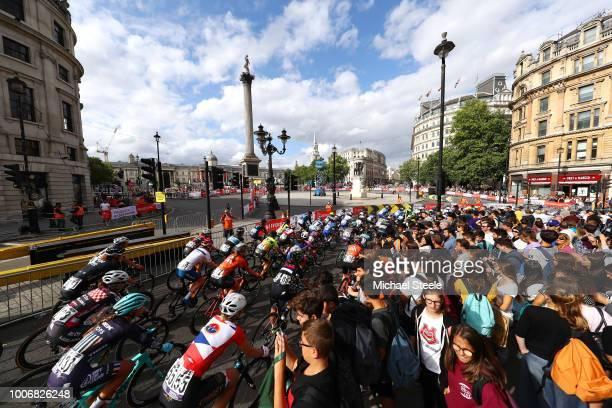 Jelena Eric of Serbia and Team Cylance Pro Cycling / Nicole Hanselmann of Switzerland and CerveloBigla Pro Cycling Team / Peloton / Trafalgar square...