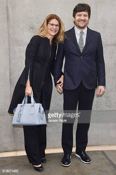 Jelena Ilic and Fabio De Luigi attend the Giorgio Armani show during Milan Fashion Week Fall/Winter 2016/17 on February 29 2016 in Milan Italy