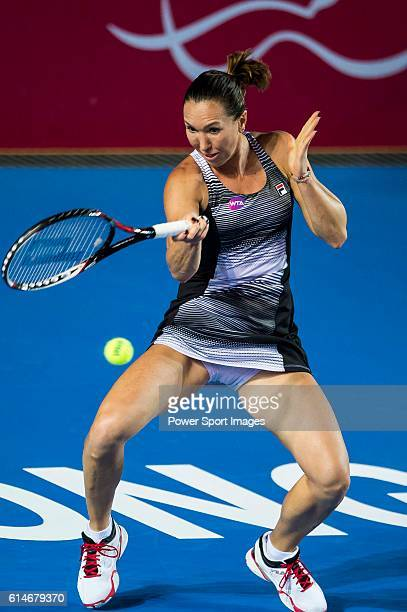 Jelena Janikovic or Serbia in action against Alize Cornet of France during their Singles Quarter Finals match at the WTA Prudential Hong Kong Tennis...