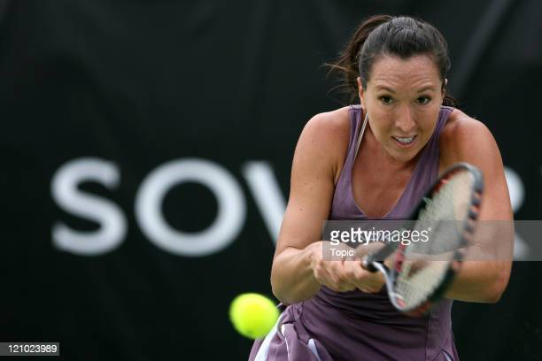 Jelena Jankovic in action during the final match of the ASB Classic 2007 between Jelena Jankovic and Vera Zvonareva at the ASB Tennis Centre in...