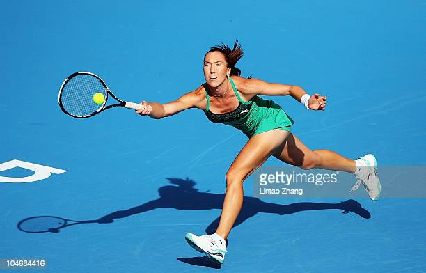 Jelena Jankovic of plays a forehand during her match against Klara Zakopalova of during day Two of the 2010 China Open at the National Tennis Centre...