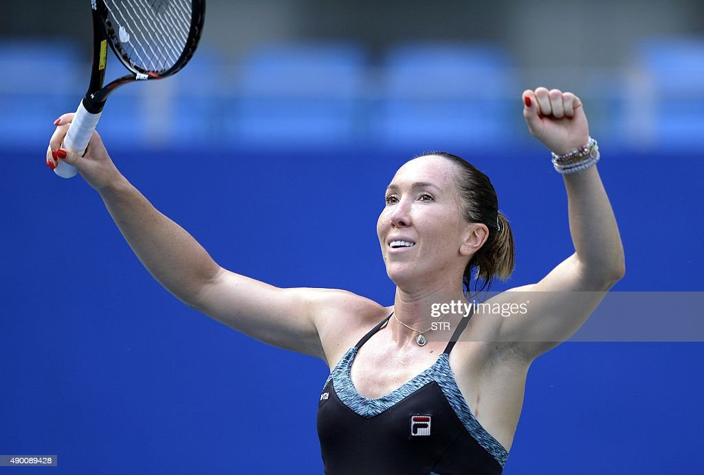 Jelena Jankovic of Serbia celebrates her win over Denisa Allertova of the Czech Republic during the women's singles final at the Guangzhou Open tennis championship in Guangzhou, southern China's Guangdong province on September 26, 2015. CHINA