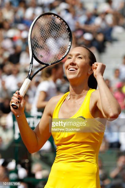 Jelena Jankovic of Serbia celebrates match point during the women's singles quarter final match between Jelena Jankovic of Serbia and Yaroslava...