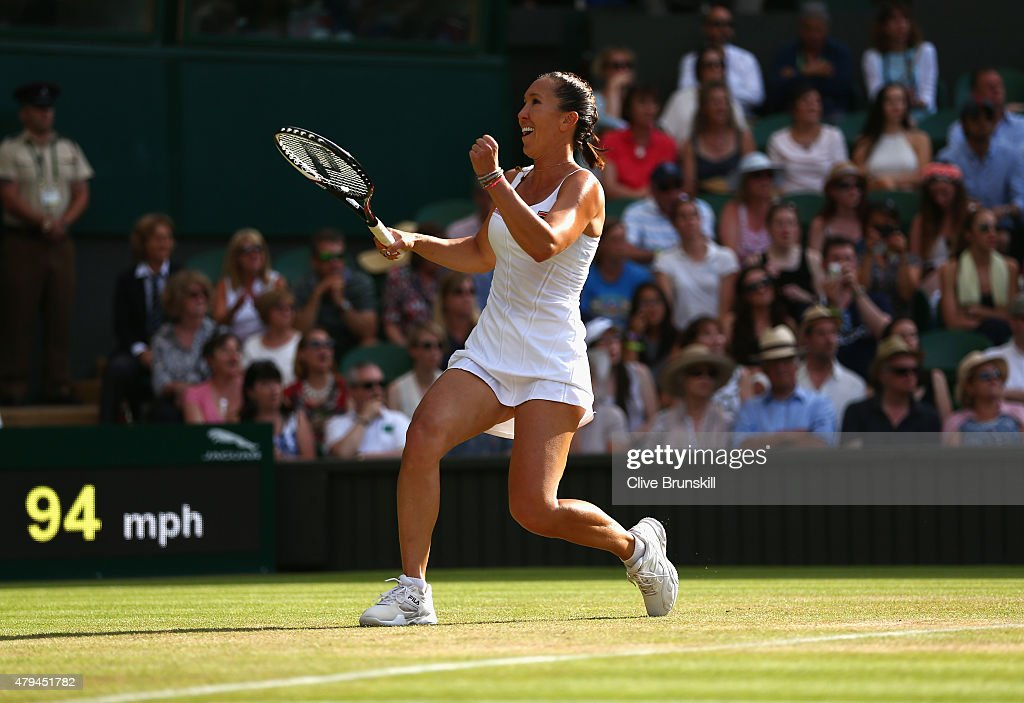 Jelena Jankovic of Serbia celebrates match point in her Ladies' Singles third Round match against Petra Kvitova of Czech Republic during day six of the Wimbledon Lawn Tennis Championships at the All England Lawn Tennis and Croquet Club on July 4, 2015 in London, England.