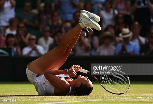 Jelena Jankovic of Serbia celebrates match point in her Ladies Singles third Round match against Petra Kvitova of Czech Republic during day six of...