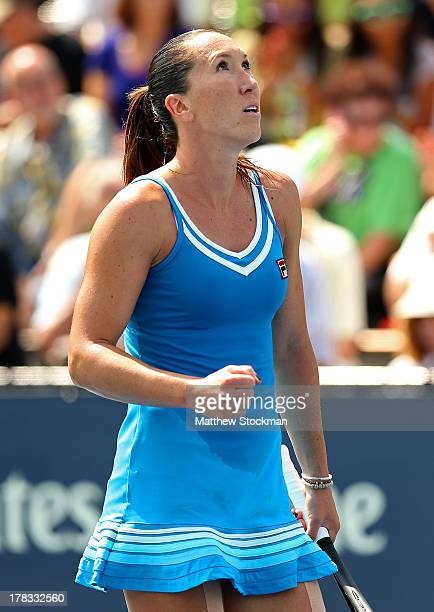 Jelena Jankovic of Serbia celebrates victory in her women's singles second round match against Alisa Kleybanova of Russia on Day Four of the 2013 US...