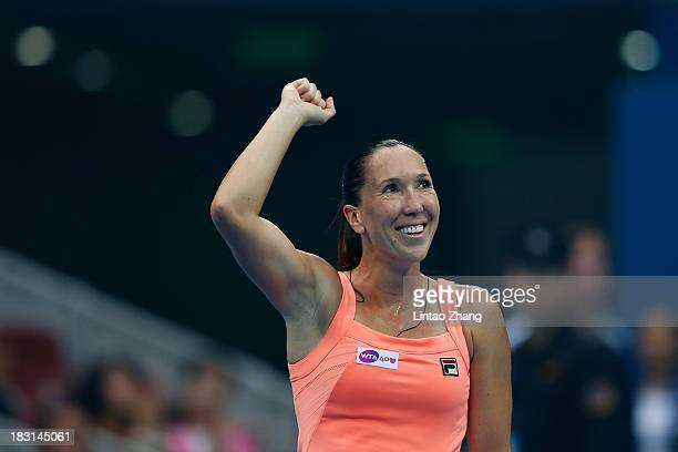 Jelena Jankovic of Serbia celebrates winning against Petra Kvitova of Czech Republic during her women's semifinal match on day eight of the 2013...