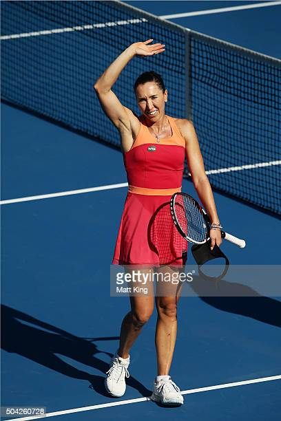 Jelena Jankovic of Serbia celebrates winning match point in her match against CoCo Andeweghe of the United States during day one of the 2016 Sydney...