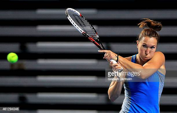 Jelena Jankovic of Serbia hits a backhand during a training session ahead of the 2015 Australian Open at Melbourne Park on January 11 2015 in...