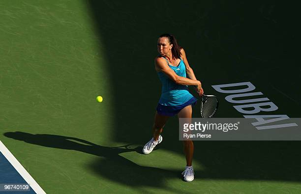 Jelena Jankovic of Serbia hits a backhand during her second round match against Aravane Rezai of France during day three of the WTA Barclays Dubai...