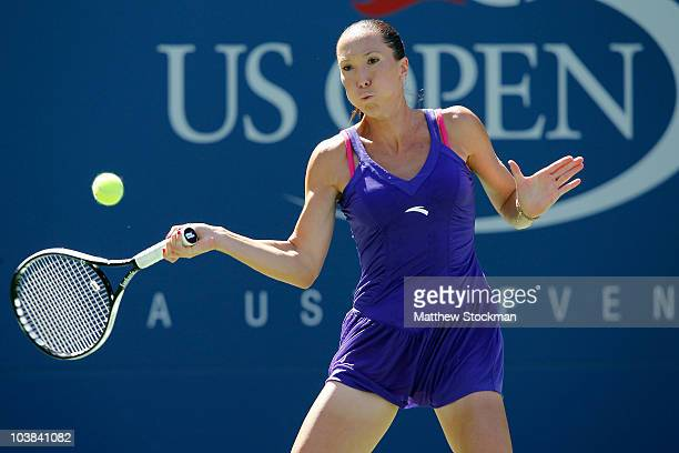 Jelena Jankovic of Serbia hits a return against Kaia Kanepi of Estonia during her women's singles match on day six of the 2010 US Open at the USTA...