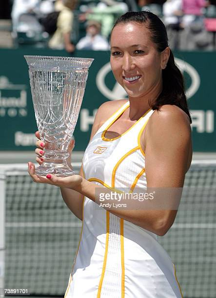 Jelena Jankovic of Serbia holds the winner's trophy after defeating Dinara Safina of Russia 6262 during the Family Circle Cup on April 15 2007 at the...