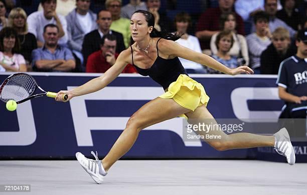 Jelena Jankovic of Serbia in action against Svetlana Kuznetsova of Russia during the quarter final of the Porsche Tennis Grand Prix at the Porsche...
