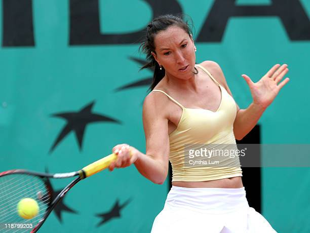 Jelena Jankovic of Serbia in action during her second round match against Marion Bartoli in the French Open at Roland Garros in Paris France on May...
