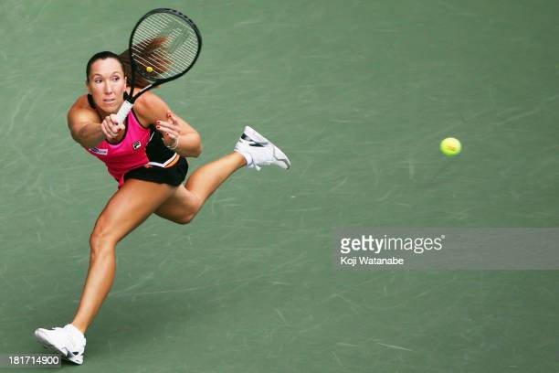Jelena Jankovic of Serbia in action during her women's singles second round match against Ayumi Morita of Japan during day three of the Toray Pan...