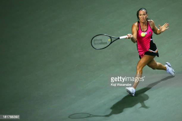 Jelena Jankovic of Serbia in action during her women's singles third round match against Eugenie Bouchard of Canada during day four of the Toray Pan...
