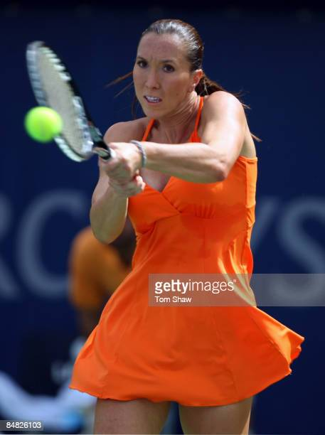 Jelena Jankovic of Serbia in action in her match against Monica Niculescu of Romania during day three of the WTA Barclays Dubai Tennis Championship...