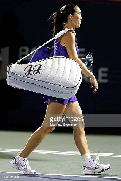 Jelena Jankovic of Serbia leaves the court after loosing to Iveta Benesova of the Czech Republic during the Rogers Cup at Stade Uniprix on August 17,...