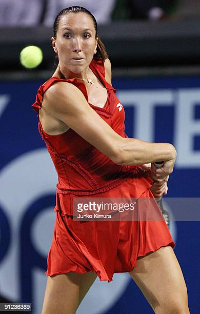 Jelena Jankovic of Serbia plays a backhand in her match against Sabine Lisicki of Germany during the third day of the Toray Pan Pacific Open Tennis...
