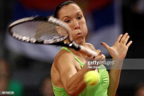 Jelena Jankovic of Serbia plays a forehand during her quarter final match against Justine Henin of Belgium at day five of the WTA Porsche Tennis...