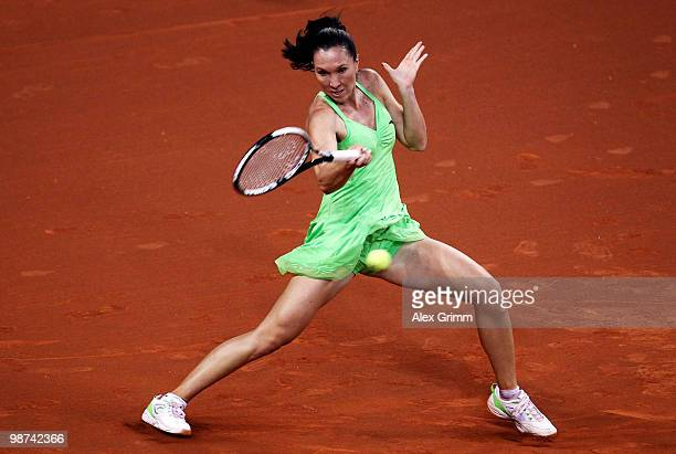 Jelena Jankovic of Serbia plays a forehand during her second round match against Tsvetana Pironkova of Bulgaria at day four of the WTA Porsche Tennis...