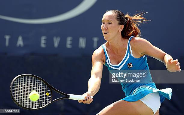 Jelena Jankovic of Serbia plays a forehand during her women's singles second round match against Alisa Kleybanova of Russia on Day Four of the 2013...