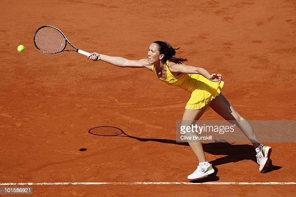 Jelena Jankovic of Serbia plays a forehand during the women's singles semi final match between Jelena Jankovic of Serbia and Samantha Stosur of...