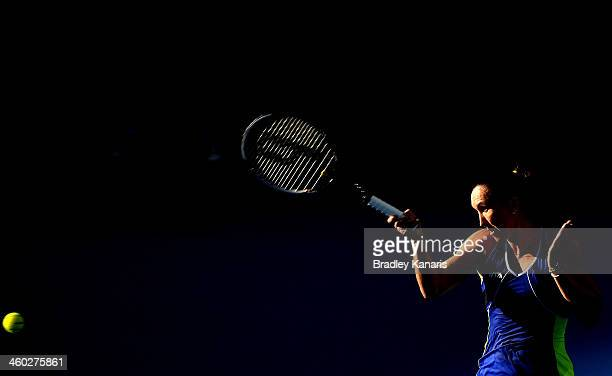 Jelena Jankovic of Serbia plays a forehand in her match against Victoria Azarenka of Belarus during day six of the 2014 Brisbane International at...