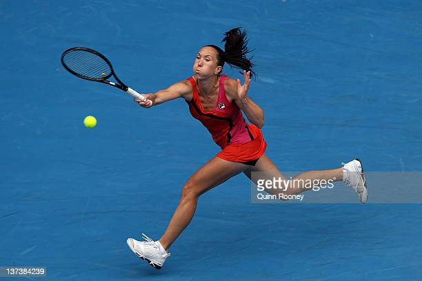 Jelena Jankovic of Serbia plays a forehand in her third round match against Christina McHale of the United States of America during day five of the...